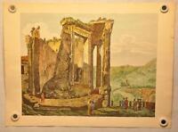"""Luigi Rossini """"Altra Veduta del Tempio Della Sibilla"""" Color Etching Print"""