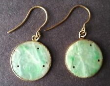 #109 Pair of Antique Hand Carved Chinese Sliver Grade-A Jade Earrings, #2
