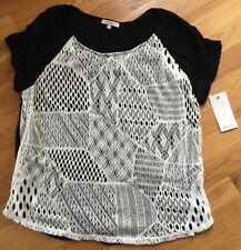 NWT Ella Moss Women's Black And Off White Lace Design Short Sleeve Top Shirt L