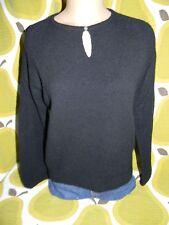 vtg women's J.CREW black boiled wool sweater Large keyhole neck bell sleeve