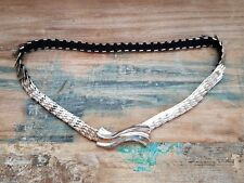 "Vintage Disco Glam Silver Metal Fishscale Elastic Stretch Belt Size 27-44"""