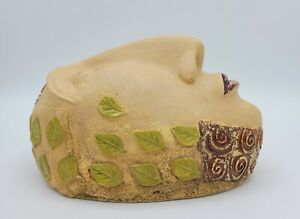 Tabletop Ceramic Face Sculpture w/ Leaves & Scrolls - Signed H. Murray '03