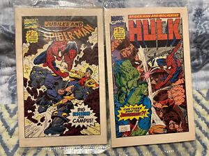 2 Drakes Cakes Marvel Mini Comics Spider-Man Wolverine Jubilee Hulk 1993 Sealed