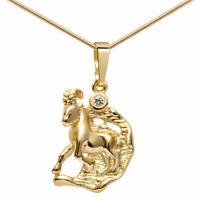 MATERIA Sternzeichen Kette 333 Gold Anhänger Damen mit Halskette 12 Motive + Box