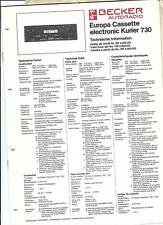 Becker Original Service Manual für Europa cassette electronic Kurier 730