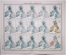 1899 LARGE WEATHER METEOROLOGY MAP ISOBARS & ISOHYETS BRITISH ISLES ANNUAL RAIN