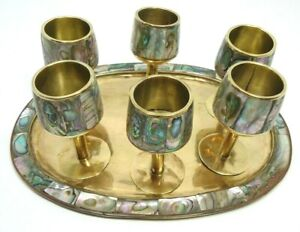VINTAGE 1950s 7 PC BAR SET INLAID ABALONE SHELL BRASS METAL 6 CORDIALS 1 TRAY