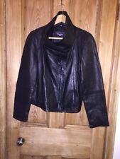 "Carrie Hoxton Soft Black Leather Funnel Neck Size 16 AtoA21"" L23"" *E1"