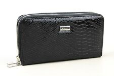 RIPANI Black Croc Embossed Patent Leather Double Zip Around Wallet Made In Italy