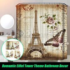 Paris Eiffel Tower Waterproof Shower Curtain Bath Mat Rug Lid Toilet Cover PVC