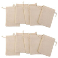 10Pcs Linen Jewelry Pouches Wedding Party Candy Organizers Drawstring Bag FD8