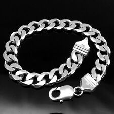 Solid 925 Sterling Silver Men's Bracelet Curb Link wrist cuff chain man jewelry