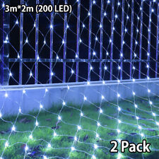 2X LED String Fairy Lights Net Mesh Curtain Christmas Wedding Party Outdoor Lamp