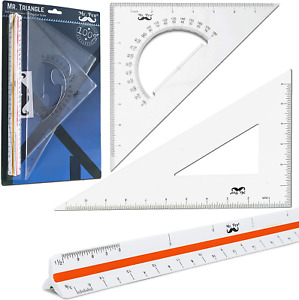 3 Pcs Large Triangular Ruler Set Scale Architect Squares Triangle Drafting Kits