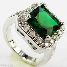 925 silver Filled Green Sapphire Birthstone Engagement Size 10  Ring Gift 1205