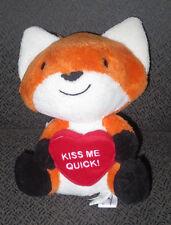 "HALLMARK Lovable Fox ~KISS ME QUICK~ Heart 8"" Stuffed Plush New w/Tags Adorable"