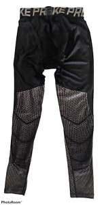 Rare NIKE PRO Mens Compression Pants Tights HyperCool Series Black/Silver 744283