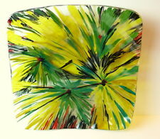 Art Glass Plate Square Bowl Platter Flower Designs