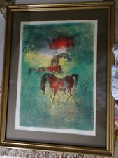 New ListingLebadang Hoi limited number signed horses lithograph framed with matting