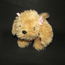 plush golden tan light brown ToBY NYC puppy dog stuffed & bean  pink ear bows
