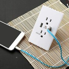 Dual USB Wall Outlet Charger Socket Power Adapter with 15A Electrical Receptacle