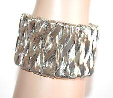 BRACCIALE donna argento rigido a schiava intrecciato moda bracelet pulsera A100