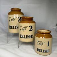 Vintage Moira Stoneware Pottery England Relish Container Set Country Farmhouse
