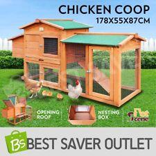 Chicken Coop Rabbit Hutch Guinea Pig Ferret Hen Cage House 2 Storey Wooden