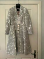 BNWT Ted Baker Light Grey Fraully Jacquard Oriental Coat 6 8 10 12 14, 0 1 2 3 4