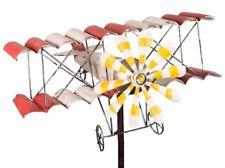 Windspiel Flugzeug Metall-Windrad Doppeldecker Shabby-Vintage Gartenstecker