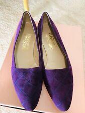 Salvatore Ferragamo Purple  Suede Flat Quilted Court Shoes UK 6 US 9