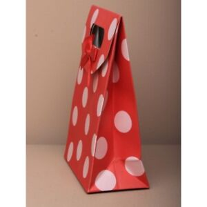 NEW 12 Red spotted touch fastening top gift box bag favour 16.5x12.5x6cm