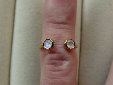 Rainbow Moonstone Duet 14K Yellow Gold Vermeil Torque Ring Size L-M/6
