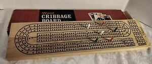 Vintage Wood Cribbage Board by Crisloid and Domino Counter 6 Pegs
