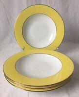 Set of 4 Dibbern Large Rimmed Soup Bowls Yellow Platinum Trim Germany Fine China