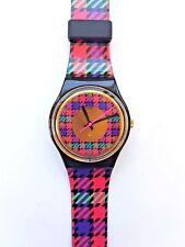 New in Box SWATCH Gent Women Pink Purple Green Gold Pattern Swiss Watch 1992