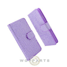 Apple iPhone 6/6s Wallet Pouch Soft Gel Diamond Look Purple Protector Shell