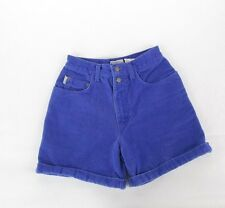 "vintage 90s Purple HIGH WAISTED Cuffed WOMEN'S DENIM JEAN SHORTS 26"" Waist"