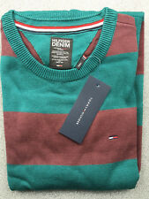 Tommy Hilfiger Striped Sweater Jumper Pullover - Crew Neck - Green - Small S
