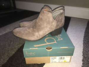 New! BORN BOC Taupe Celosia Slip On Ankle Booties Heel Shoes Size 11 M Cute!
