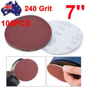 """100PCS 7"""" Sanding Discs 180mm Sandpaper Pad Abrasive 240 Grit AU Stock"""