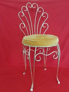 Vintage Mid Century Gold Vanity Stool Chair With Cushion
