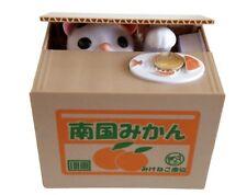 Qiyun Mischief Stealing Coin Cat Piggy Bank Orange Box