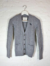 ABERCROMBIE KIDS V Neck Cable Sweater Knit Cardigan, size M, color Heather Gray