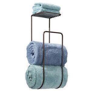 mDesign Metal Wall Mount Towel Rack Organizer with Storage Shelf - Bronze