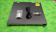 Cisco WS-C3750E-48TD-S Gig Switch 2X C3K-PWR-265WAC 1 pcs X2-10GB-SR w Ears