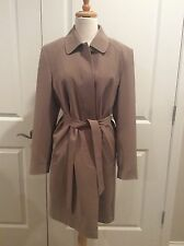 Portrait Tan Brown Ladies Wool Lined Belted Single Breast Trench Rain Coat Small