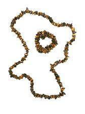 "Genuine Tigers Eye Nugget Artisan Estate Chunky Statement Necklace 30""+ Bracelet"