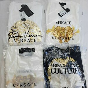 Lot of 4 New w/Tags Versace Couture Designer T-Shirts in Various Styles - BBS400