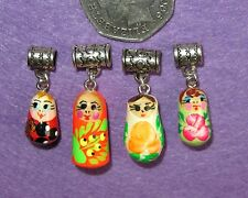 Hand Painted lot 4 Matryoshka Charm UNIQUE RUSSIAN DOLL EUROPEAN Snake Bracelet